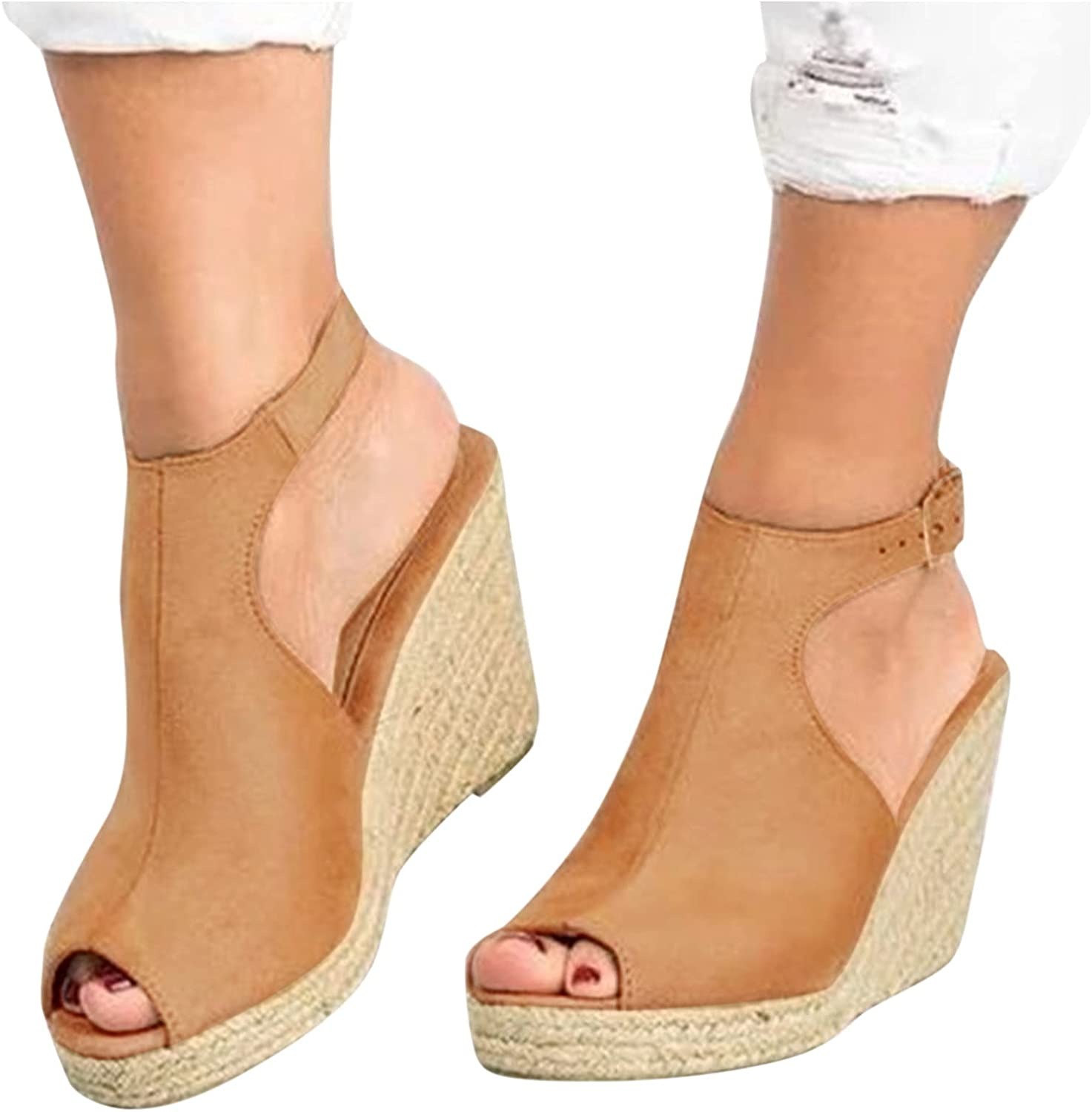 Niceast Sandals for Casual Summer,Women's Ankle Strap Sandals Open Toe Beach Platforms & Wedges