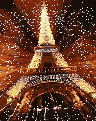DIY Malen nach Zahlen für Erwachsene Junior Kinder, ABEUTY Nachtansicht des roten Eiffelturms 40x50cm Weihnachten Valentinstag Geschenk