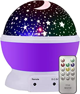 K KBAYBO Night Light for Kids with Music, Remote Control Stars Moon Projector Warm Night Lamp, Rotating and 8 Colorful Lig...