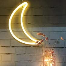 Crescent Neon Light Moon LED Neon Signs Warm White Art Wall Mood Decor for Bed Decor Bedroom Decorations House Bar Recreational, Birthday Party Kids Room, Living Room, Wedding Party