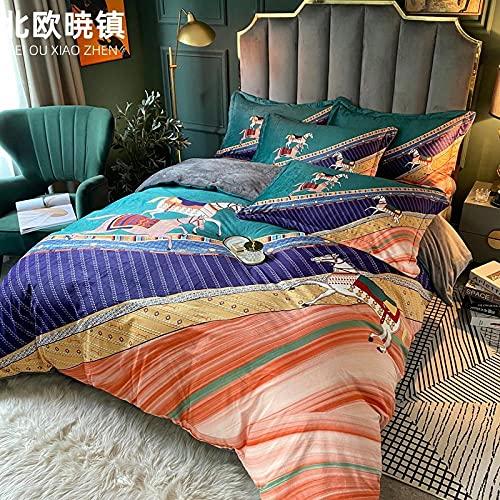 Exlcellexngce Funda De EdredóN 150,Estilo De Palacio De Alta Gama Europeo Estilo Digital Baby Fleece Bed Single Special Duvet Set Single Double Bed Kit-C_Cama De 2.0m (4pcs)