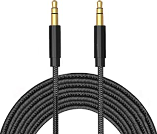 TERSELY 3.5mm Gold-Plated Auxiliary Audio Cable Aux Cord, 2M / 6FT Nylon Braided Male to Male for Headphones,Car Home Ster...