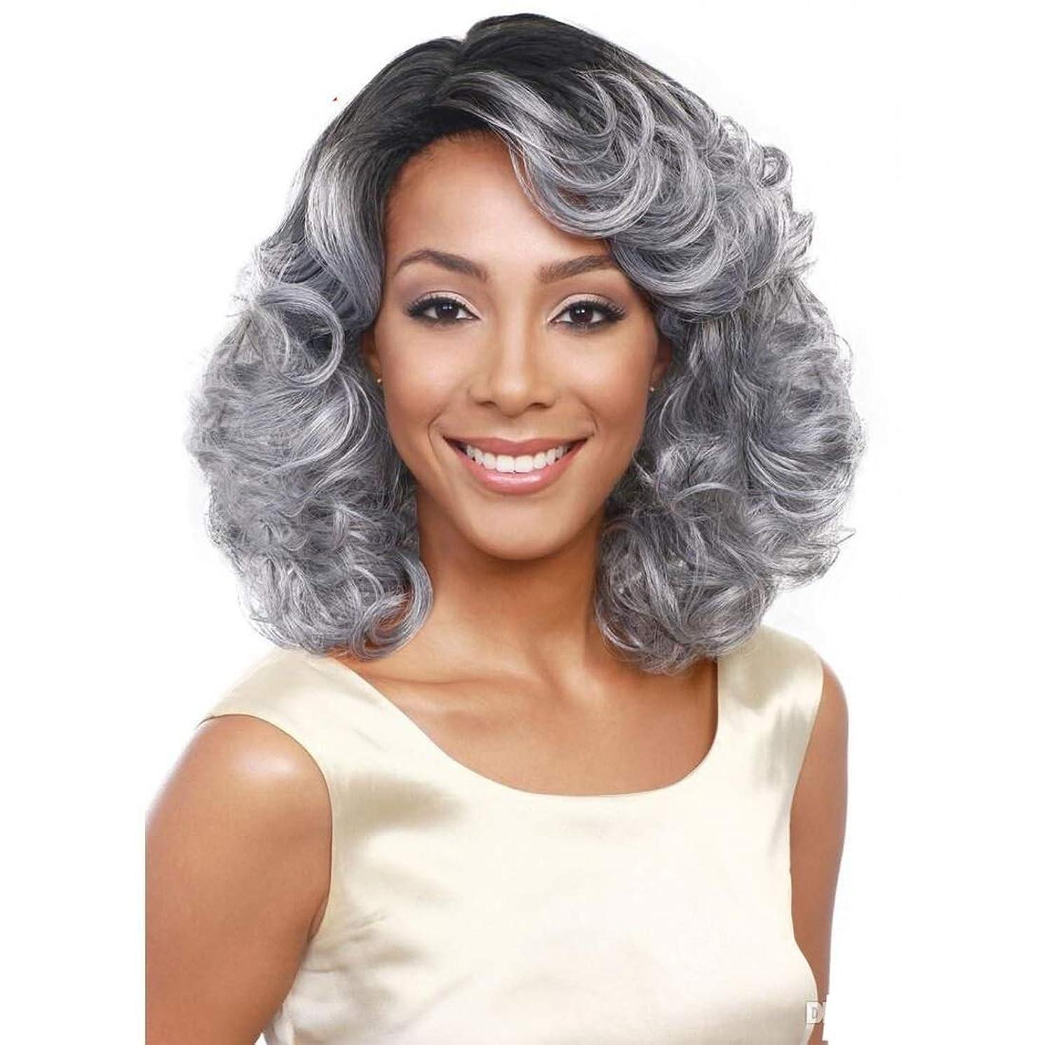 計器式有力者Summerys ソフト&スムーズ女性のためのグレーの短い巻き毛の化学繊維高温ワイヤーをかつら