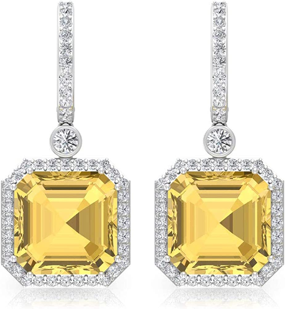 8.5 Ct Citrine Solitaire New Shipping Free Shipping Hoop safety Certi Diamond 0.80 Earring SGL