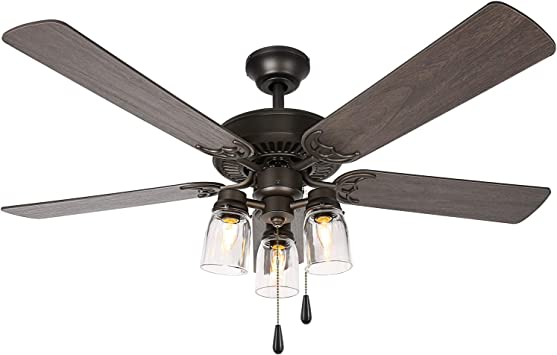 Amazon Com 52 Inch Indoor Oiled Bronze Ceiling Fan With Light Kit Industrial Pull Chain Ceiling Fan With Lighting Reversible Motor And Blades Ul Listed For Living Room Bedroom Basement Kitchen Home Improvement