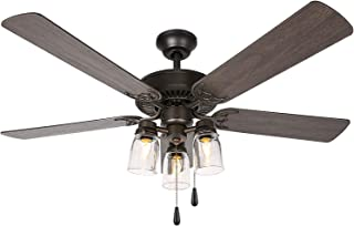 52 Inch Indoor Oiled Bronze Ceiling Fan with Light Kit,...