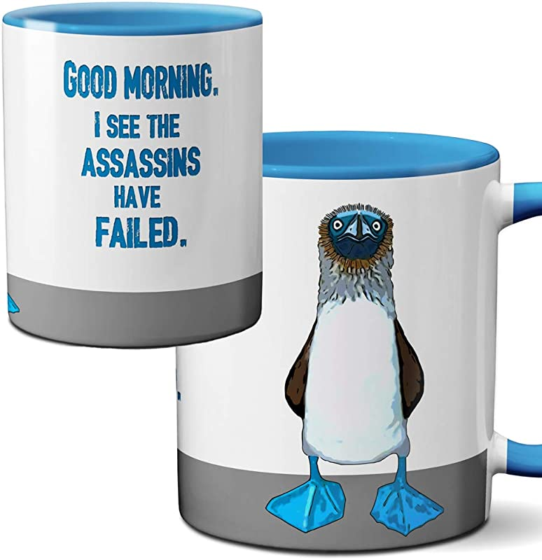 Blue Footed Boobie Assassin Mug By Pithitude One Single 11oz Blue Coffee Cup