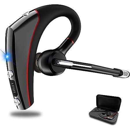 【2020年超厳選Bluetoothヘッドセット】Bluetoothイヤホン ワイヤレスイヤホン 耳掛け型 12時間連続使用 ハンズフリー通話 Bluetooth5.0 ミュート機能 全指向性マイク内蔵 片耳 CVC8.0 ノイズキャンセリング IPX5防水 装着感抜群 左右耳兼用 自粛応援 マイクブーム180度回転 高音質 ブルートゥースヘッドセット 在宅勤務/テレワーク/オンライン英会話/車用/ビジネスチャット/仕事/通学/ウォーキングなどに適用 日本語取扱書&収納ボックス付