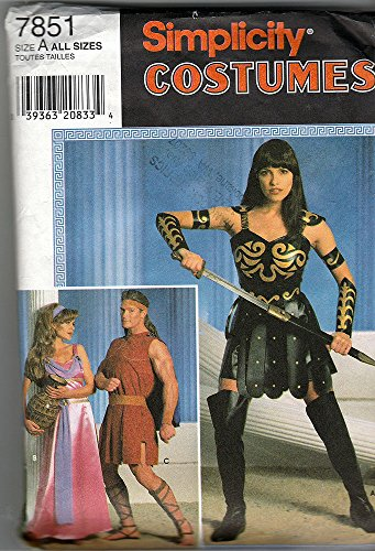 Rare Simplicity 7851 Costumes Xena Gladiator All Sizes Sewing Pattern; Size A 6-16