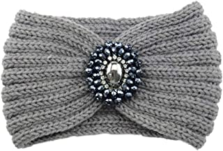 Snowlike Women's Diamond Headband Vintage Earmuffs Hand-Woven Headband Warm Knitted Hair Band Wool Hair Band