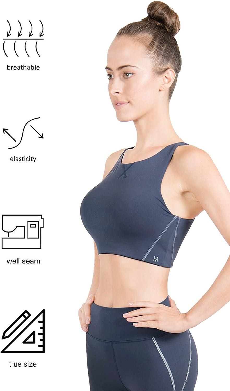 Women MAHA YOGI Luna Bra Sports Bra Workout Supportive Yoga Bra Longline  Sports Bras with Removeable Cup Sports Bras
