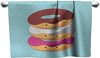Personalized Hand Towels Anime,Kawaii Cartoon Style Colorful Donuts with Funny and Cute Faces on Blue Background,Multicolor,Suction Towel bar for Shower