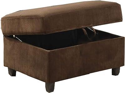 Benjara Fabric Upholstered Rectangular Ottoman with Hidden Storage, Brown