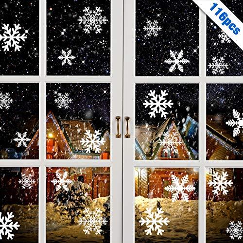 MELLIEX 116 PCS Adesivi Decorativi Natalizi Decalcomanie Finestra Fiocco di Neve Natale Decorazioni per Casa Negozio al Dettaglio