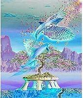 5DダイヤモンドDIYダイヤモンド絵画セット漫画イルカクリスタルダイヤモンド刺繍ラインストーンデジタル絵画手貼りクロスステッチクラフトモザイクセットギフト