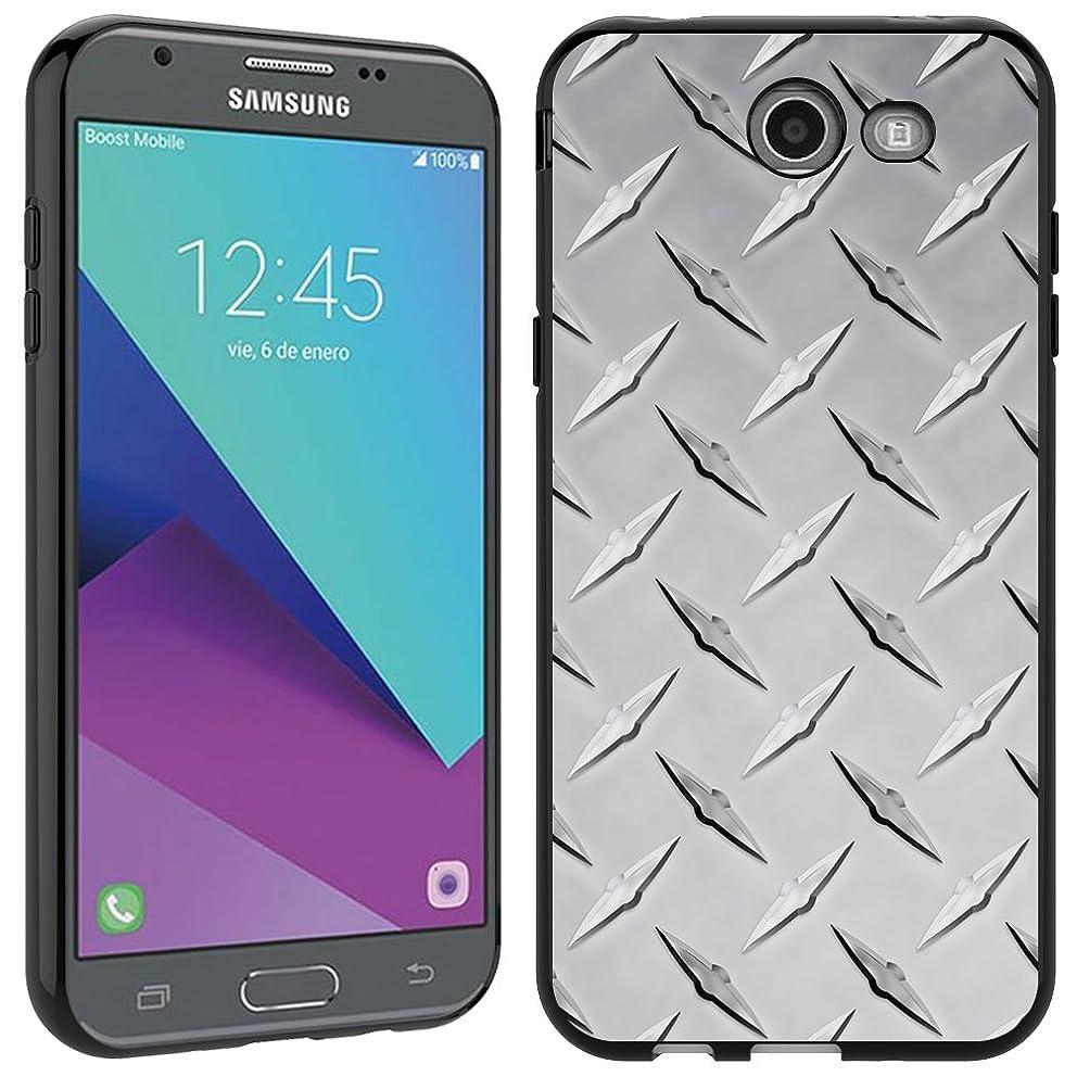 Samsung Galaxy J3 Emerge case - [Diamond Plate] (Black) PaletteShield Soft Flexible TPU gel skin phone cover (fit Samsung Galaxy J3 Emerge/ J327/ 2017)