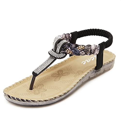 e542e6ab1bc6 Zicac Women s Clip Toe Sandals Summer Bohemia Rhinestone Bead Folk Dunlop  Sandals Boho Beach Flip Flops
