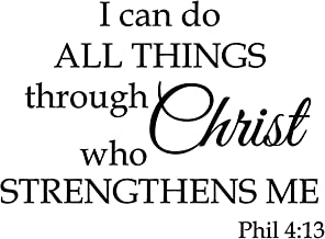 Newclew I can do All Things Through Christ who Strengthens me Empowerment Inspiration Wall Art Inspiring Sayings Vinyl Sticker Décor Decal