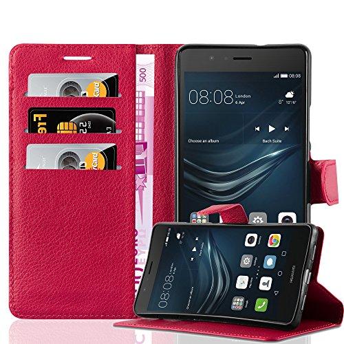 Cadorabo Custodia Libro per Huawei P9 LITE in ROSSO CARMINIO - con Vani di Carte, Funzione Stand e Chiusura Magnetica - Portafoglio Cover Case Wallet Book Etui Protezione