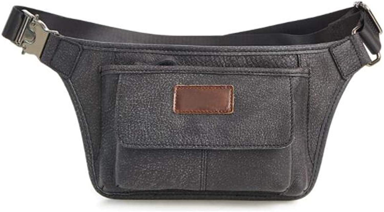 Sturdy West Pouch Body Handbag Out Genuine Leather for Exercise for Men Large Capacity (color   Black)