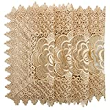 Simhomsen Golden Beige Table doilies Square 12 Inch Set of 4