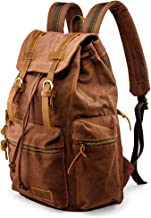 GEARONIC TM Men 21L Vintage Canvas Backpack Leather Laptop School Military