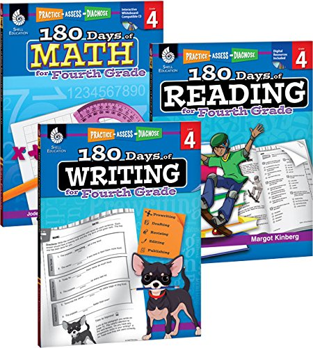180 Days of Practice for 4th Grade (Set of 3), Assorted Fourth Grade Workbooks for Kids Ages 8-10, Includes 180 Days of Reading, 180 Days of Writing, 180 Days of Math