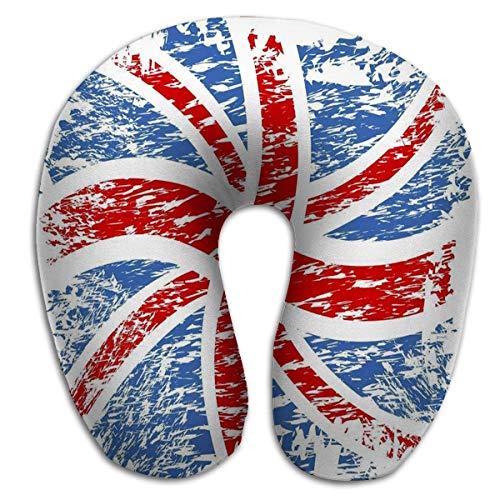 Almohada de Viaje de Espuma de Memoria Soporte de Cabeza de Cuello Redondo en Forma de U Alivie la Fatiga Cervical para Dormir Bandera británica Viento Giratorio Retro
