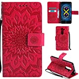 Ooboom® Huawei Honor 6X Hülle Sonnenblume Muster Flip PU Leder Schutzhülle Handy Tasche Case Cover Stand mit Kartenfach für Huawei Honor 6X - Rot