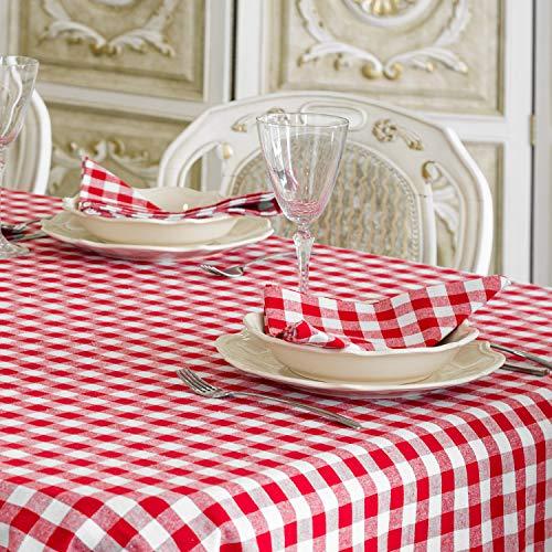 Nappe en vichy rouge - Rectangulaire - 100 % coton - Carreaux rouges et blancs , 100 % coton, Red, 59 x 59\