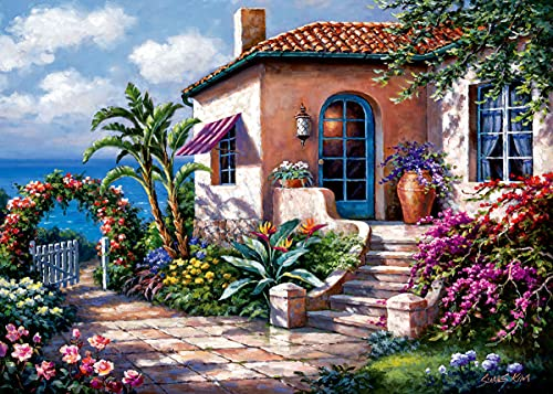 Sung Kim Art - Jigsaw Puzzle 1000 Piece for Adults (Coastal Cottage View)