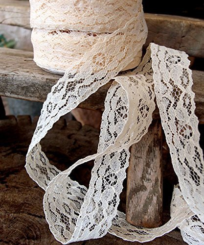 """AK-Trading 1"""" Wide x 25 Yards Floral Pattern Lace Ribbon for Decorating, Floral Designing and Crafts (Ivory)"""