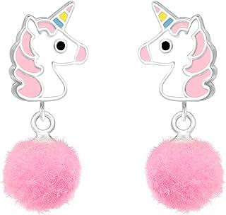 ICYROSE 925 Sterling Silver Cute Animal, cupcake, etc. Children's Stud Earrings with Dangling Pom Pom Girls (Nickel Free)