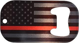 Firefighter Bottle Opener Heavy Duty Stainless Steel FD Thin Red Line Flag Fire Fighter Department