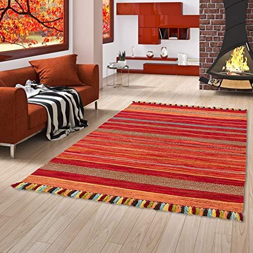 Natur Teppich Bauwolle Kelim Kalleen Rot in 6 Größen