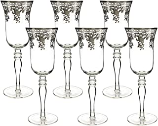 (D) Crystal Champagne Flute Glasses with Silver Pattern 6pc, Vintage Glassware