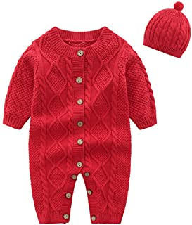 amropi Baby Girls Knitted Rompers and Hat Newborn Onesies Warm Sweater Jumpsuit Outfits for 0-24 Months