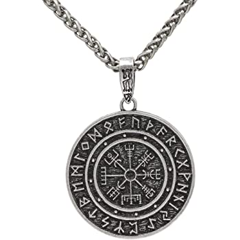 Mlark Handcrafted Norse Vikings Runes Amulet Pendant Celtic Pagan Pewter Viking Talisman Gift Necklace Jewelry For Men Unisex 1 Silver Amazon Com