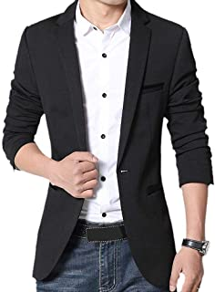 Gopune Men's Slim Fit Casual One Button Suits Coat Solid Blazer Business Jacket