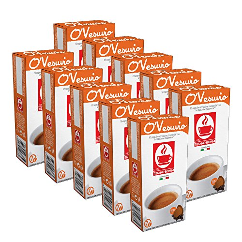100 Kaffee Kapseln Nespresso kompatibel - O'Vesuvio (10 x 10 Kapseln à 5.5 g) von Bonini