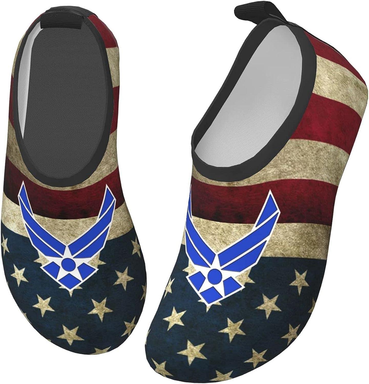 Changzixlaw Air Force Logo Us Stripe Flag Boy Girls Children Teen Water Shoes Aqua Socks Quick Dry Aqua Socks