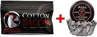 【正規品】(ギフトコイル)Wick 'N' Vape製品 Cotton bacon コットンベーコン バージョン2.0 100% オーガニックコットン/電子タバコ VAPE RBA RDA RTA RDTA DIY用 + (10pcs/box) Alien coil Prebuilt coils(Alien-SS316L)