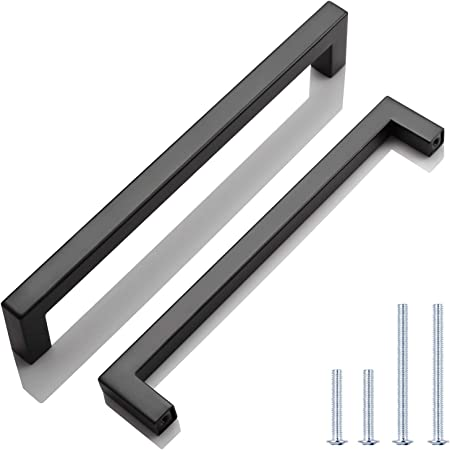 Knobwell 12 Pack Black Stainless Steel Kitchen Cabinet Door Handles Euro Style Kitchen Drawer Pulls Hole Centers 7 9 16 Overall Length 8 Amazon Com