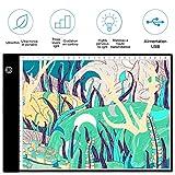 HomdMarket Tablette Lumineuse A4 avec 3 Niveaux Réglables de Luminosité LED 3.5mm Ultre-Mince avec Cable USB pour Croquis Esquisse Architecture Calligraphie Diamond Painting