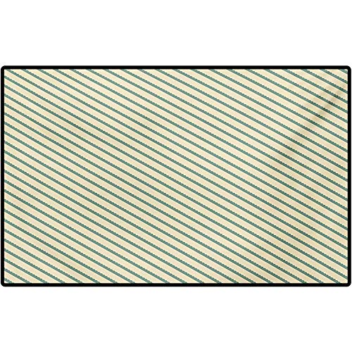 Retro Area Rug Floor Mat On The Bias Geometric Green Stripes Pattern Romantic Vintage Design Print Indoor Outdoor, Waterproof,Mat for Floor, Patio 48' x 30' Jade Green and Cream