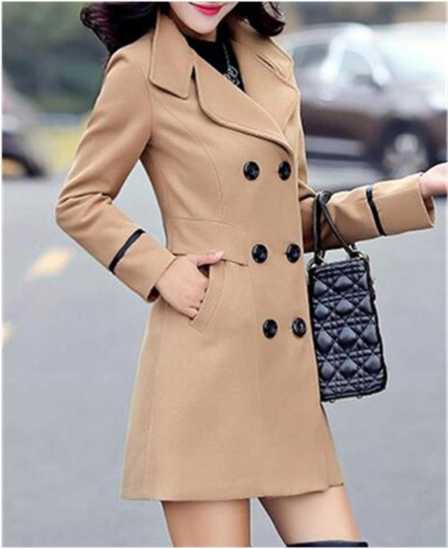 Women's Wool Coat Double Breasted Coat Elegant Bodycon Cocoon Wool Long Coat