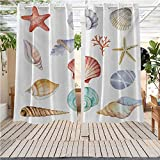 DONEECKL Nautical Curtains for Bedroom Collection of Different Type Seashells Scallop Mollusk Summer Exotic Creatures Animals Waterproof Patio Door Panel W63 x L72 inch Multi