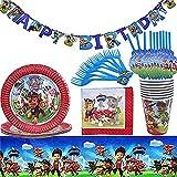 Juego de vajilla de cumpleaños para niños Juego de vajilla desechable Accesorios de decoración para fiestas de cumpleaños Decoraciones para fiestas Adecuado para fiestas de cumpleaños para niños