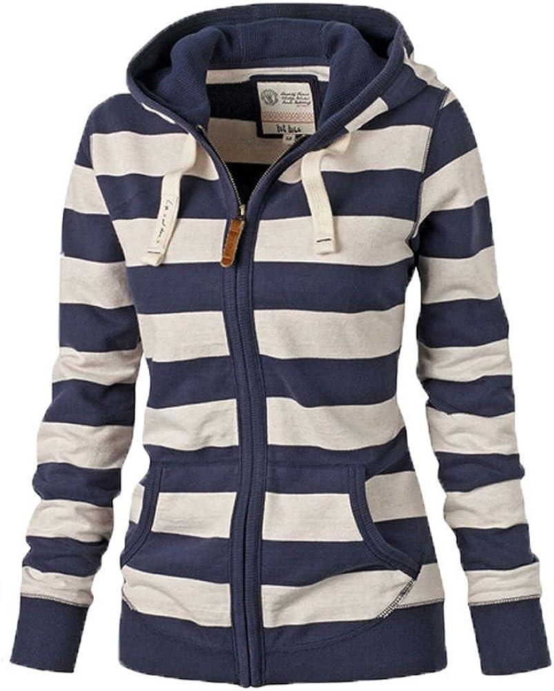 LOOLY Women Plain Zipper Spring Hoodie Striped Hooded Jacket (Thin)