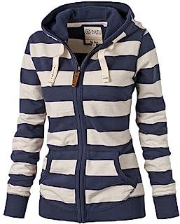 Women Plain Zipper Spring Hoodie Striped Hooded Jacket (Thin)